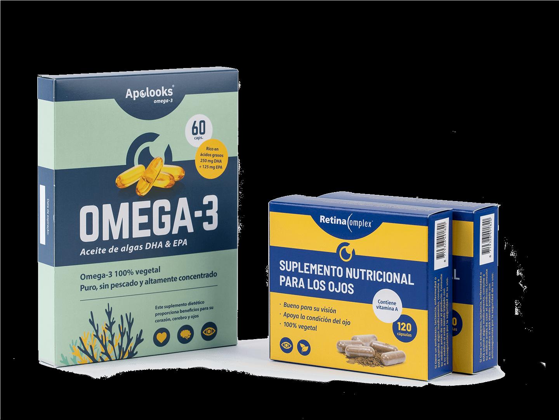 Descuentos de paquetes - Retinacomplex® y Apolooks® aceite de algas Omega-3