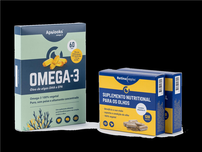 Combinação - retinacomplex® e óleo de algas ômega-3 - descontos para pacotes