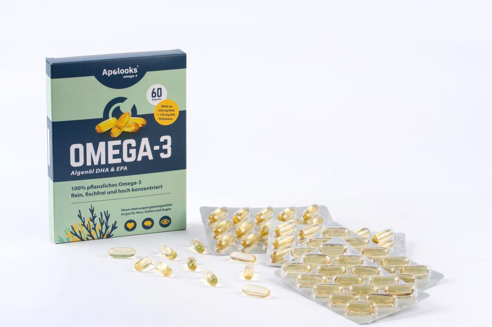 Apolooks® Omega-3-Algenöl - DHA für die Augen - 60 Kapseln - Vegan