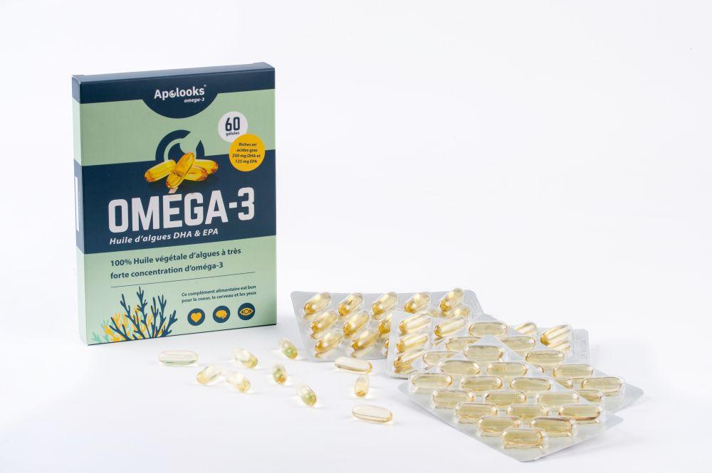 Apolooks® Huile d'algues oméga-3 (EPA&DHA) - 60 gélules / 2 mois